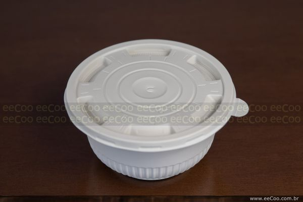 Bowl Com Tampa 700 Ml Biodegradavel Eecoo - eeCoo sustentabilidade - Tigela 620 ml biodegradável com tampa
